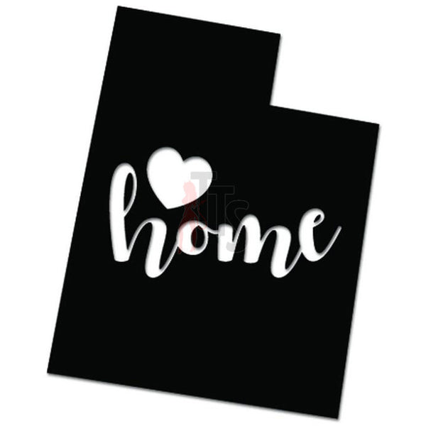 Home Is Where The Heart Is Utah State Map Decal Sticker