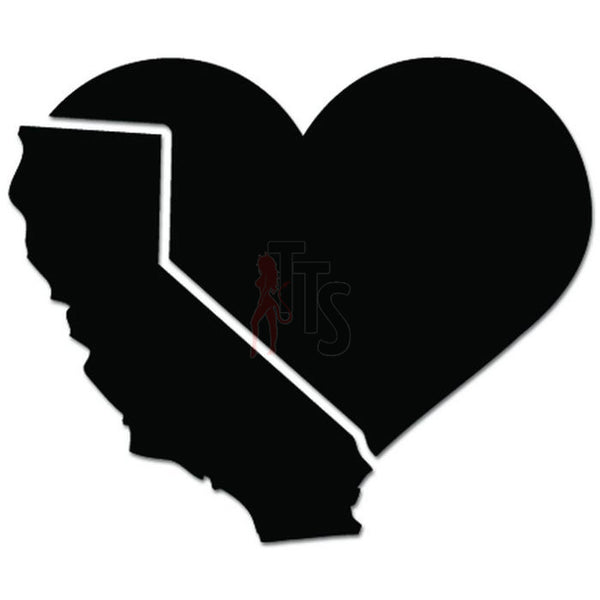 California Love Heart State Decal Sticker