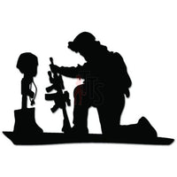 Fallen Soldier Kneel Praying Decal Sticker
