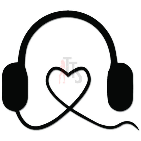 Love Heartbeat Headphones DJ Decal Sticker