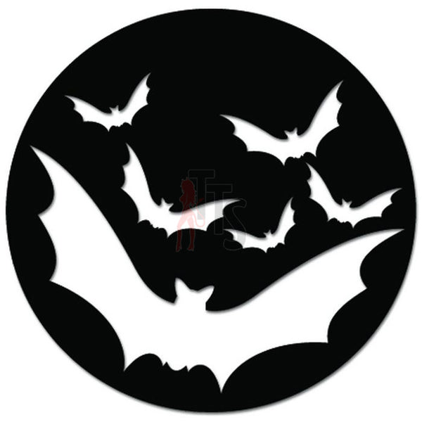 Flying Bats Moon Halloween Decal Sticker