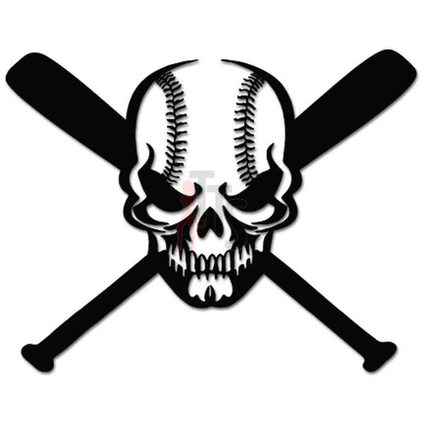 Death Skull Baseball Bat Decal Sticker