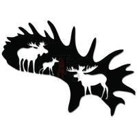 Moose Family Horn Antler Decal Sticker