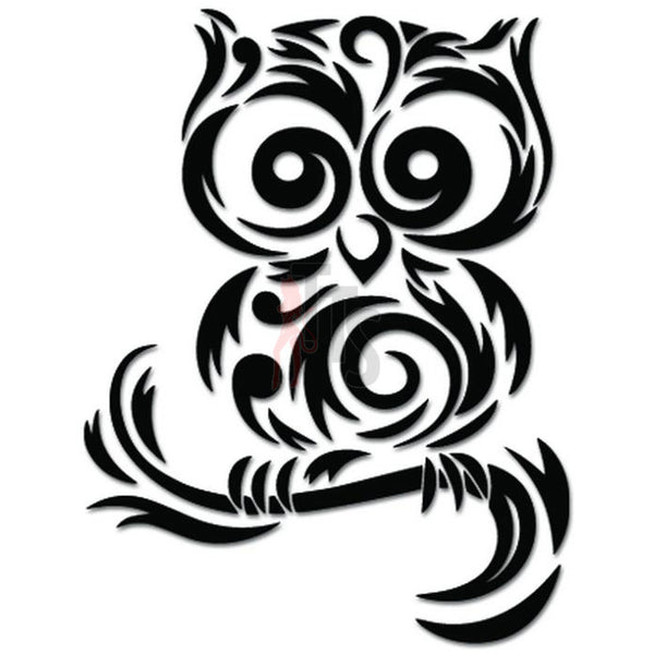 Tribal Owl Bird Tree Branch Decal Sticker