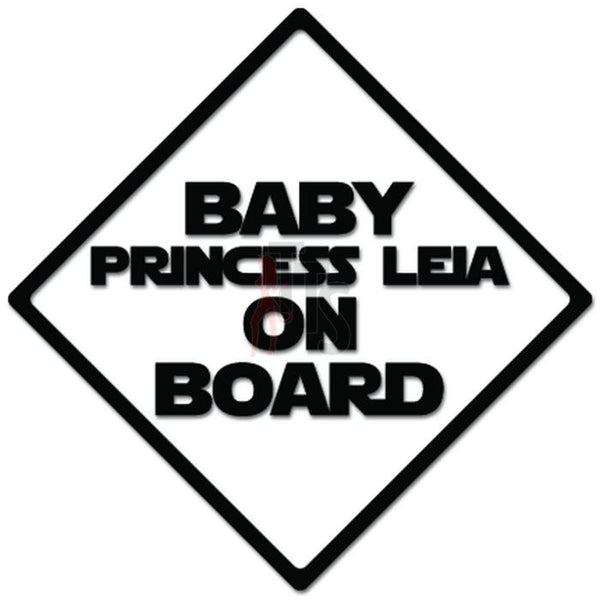Baby Princess Leia On Board Decal Sticker Style 2