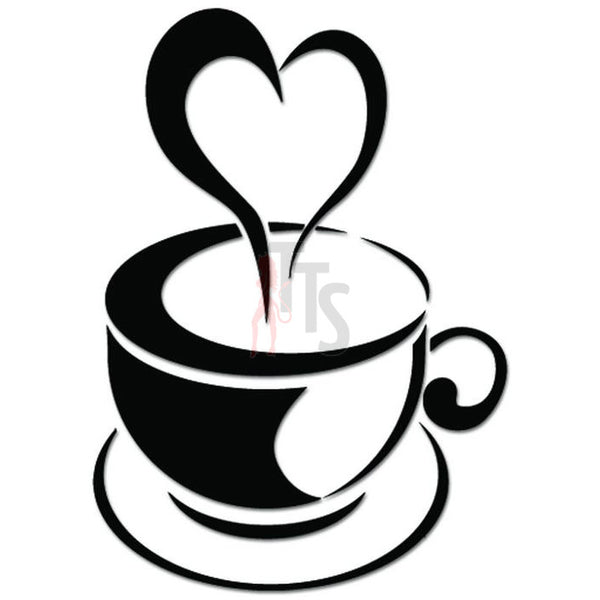Coffee Cup Love Heart Caffeine Decal Sticker Style 3