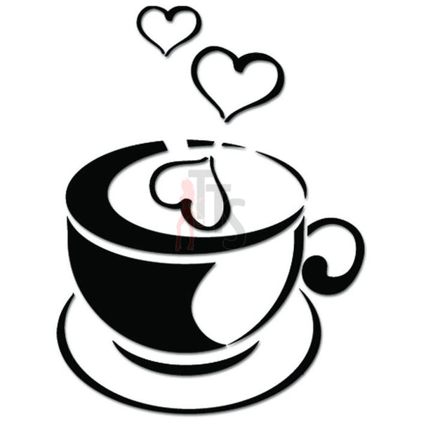 Coffee Cup Love Heart Caffeine Decal Sticker Style 4
