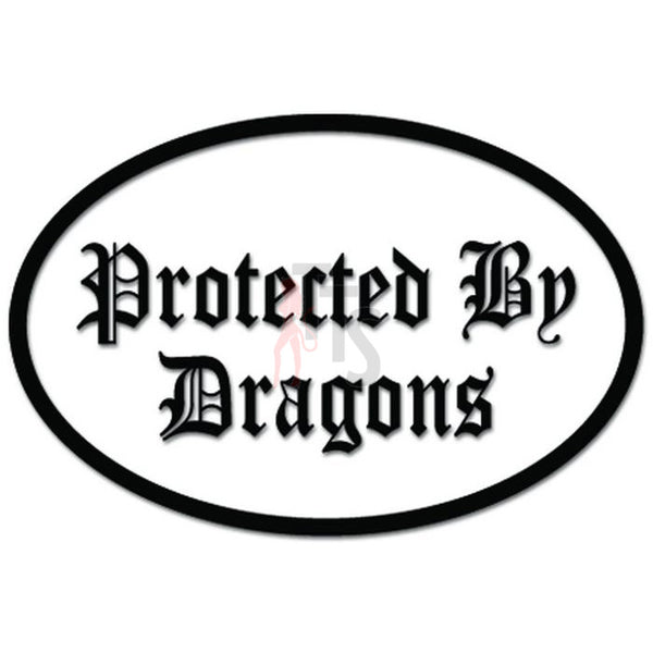 Protected By Dragons Funny Decal Sticker