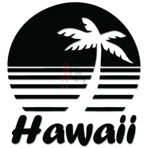 Beach Sunset Palm Tree Hawaii Decal Sticker