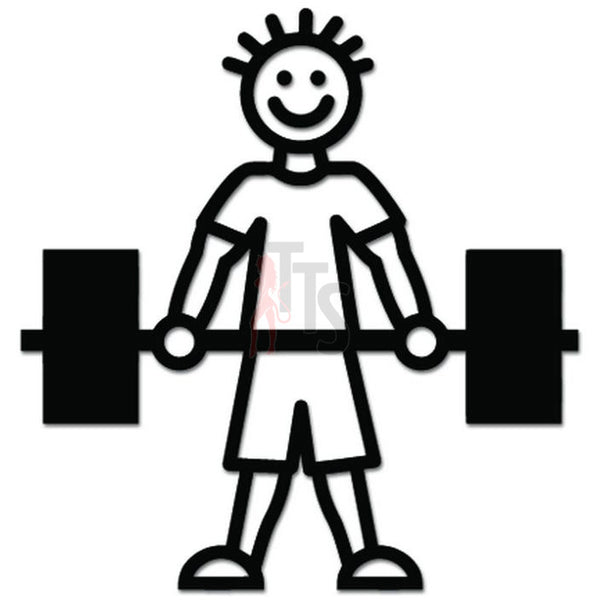 Stick Figure Weight Gym Workout Decal Sticker