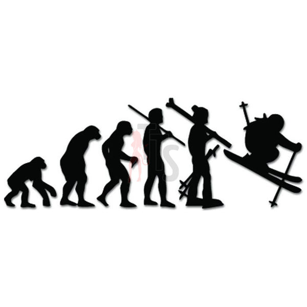 Evolution of Skier Ski Skiing Decal Sticker
