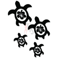 Sea Turtle Family Hibiscus Flowers Hawaii Decal Sticker