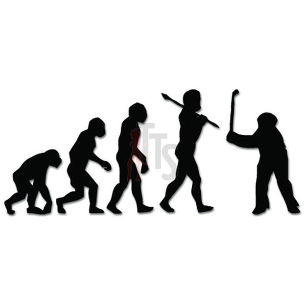Ape Human Evolution Golfing Golf Decal Sticker