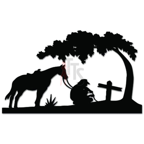 Christian Cowboy Horse Praying Cross Tree Decal Sticker