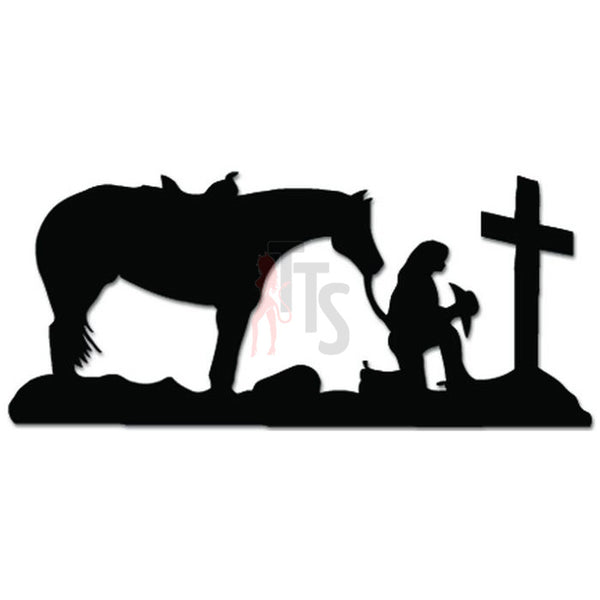 Christian Cowgirl Praying Cross Decal Sticker