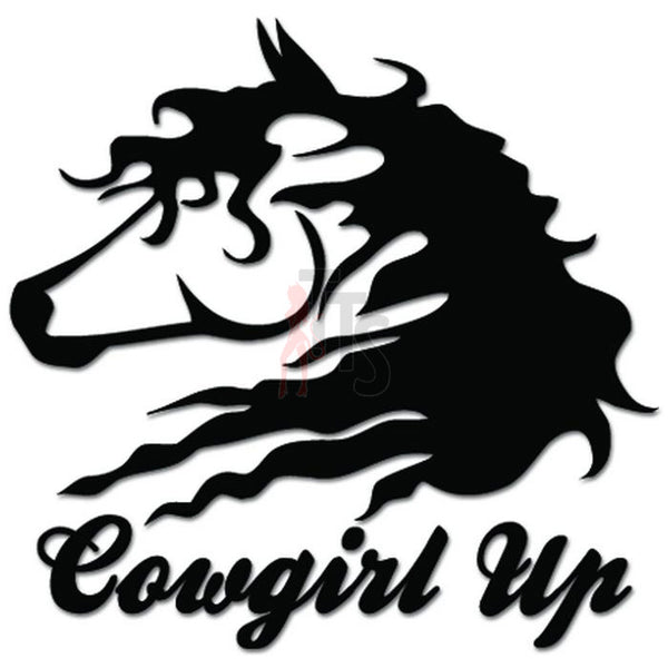Cowgirl Up Horse Riding Decal Sticker Style 2