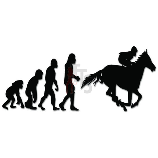 Evolution of Horse Racing Jockey Ape Human Sport Decal Sticker