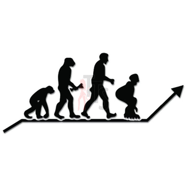 Evolution of Inline Skating Ape Human Sport Decal Sticker