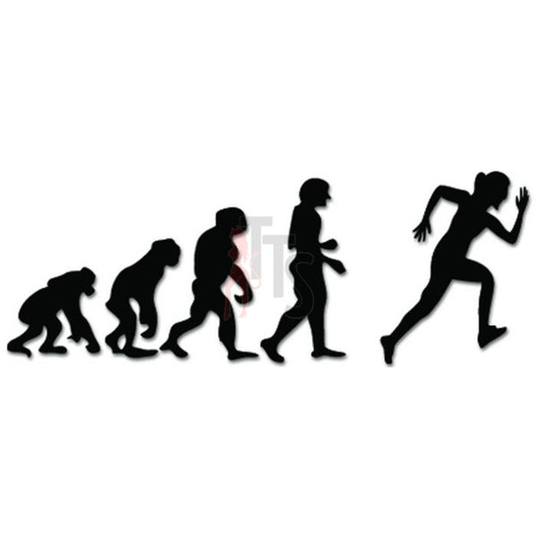 Evolution of Running Ape Human Sport Decal Sticker
