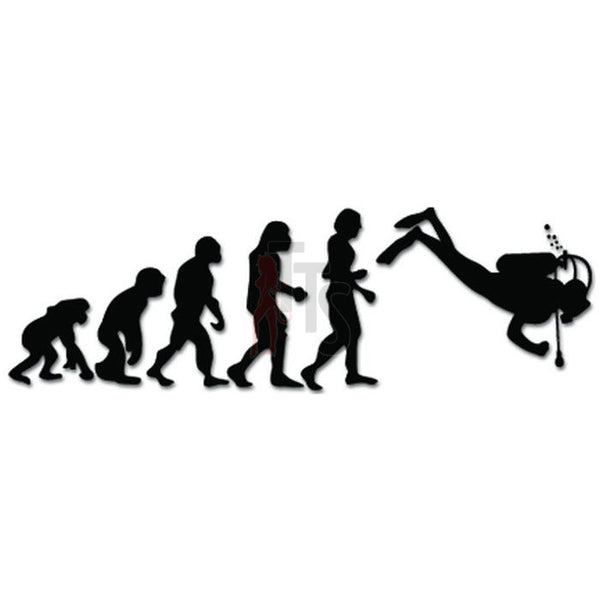 Evolution of Scuba Diving Ape Human Sport Decal Sticker