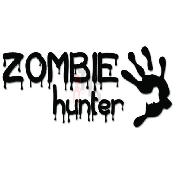 Zombie Hunter Hand Print Blood Drip Decal Sticker