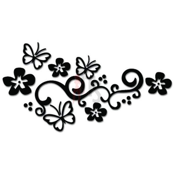 Butterflies Butterfly Vine Flowers Decal Sticker