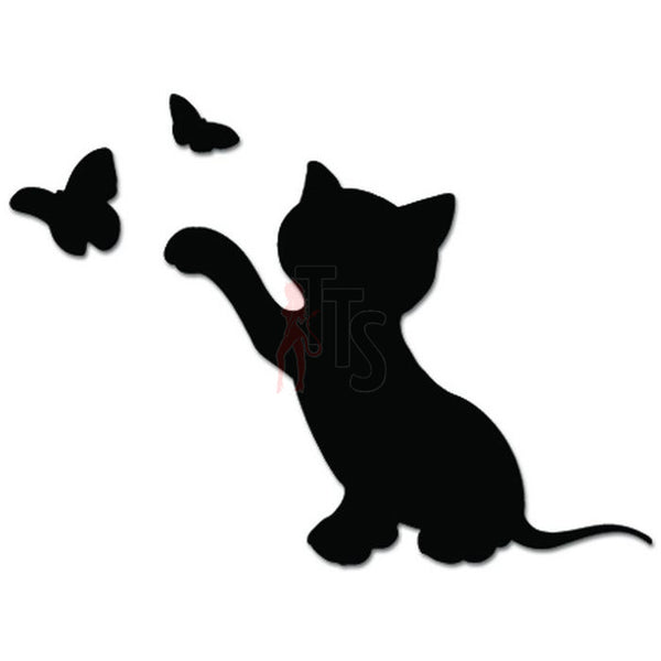 Kitty Cat Kitten Playing Butterfly Decal Sticker