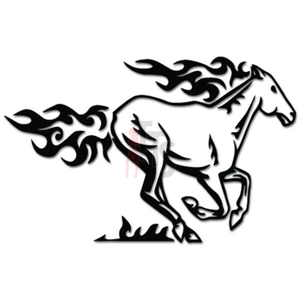Running Horse Flame Fire Decal Sticker Style 1