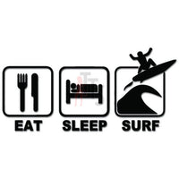 Eat Sleep Surf Surfing Decal Sticker Style 2