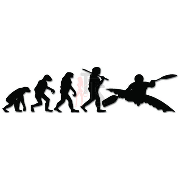 Evolution Ape To Kayaking Decal Sticker
