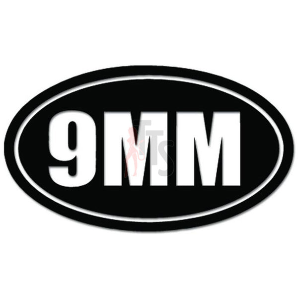 9mm Oval Gun Pistol Handgun Decal Sticker