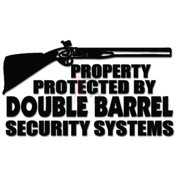 Protected By Double Barrel Shotgun Rifle Decal Sticker
