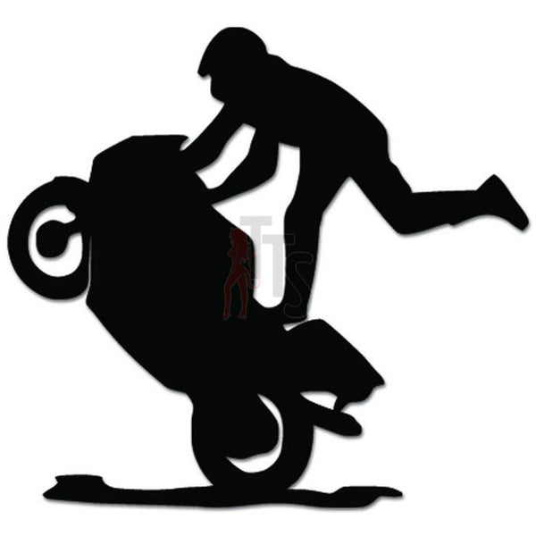 Motorcycle Stunt Biker Wheelie Decal Sticker