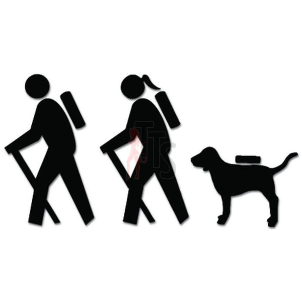 Couple Hiking Dog Hiker Decal Sticker