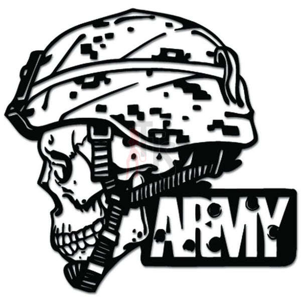 Death Skull Army Soldier Bullet Holes Decal Sticker