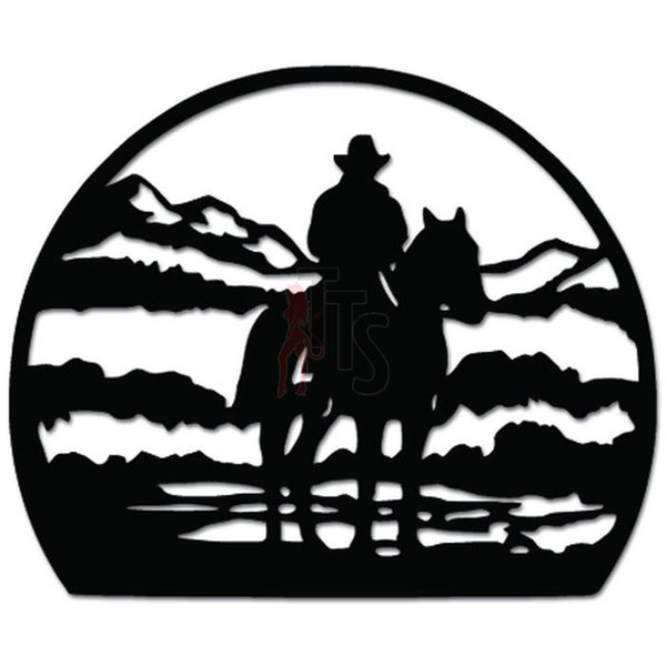 Lone Cowboy Mountain Horse Decal Sticker