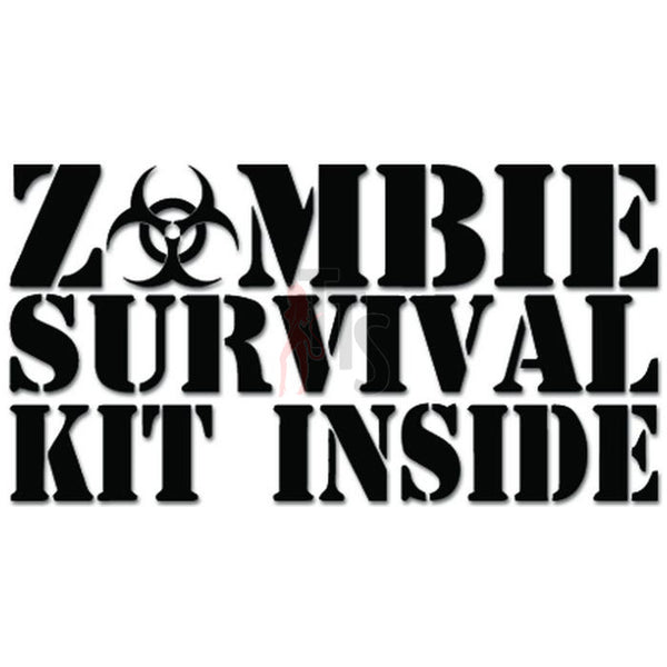 Zombie Survival Kit Inside Biohazard Decal Sticker