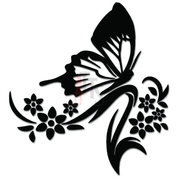 Flying Butterfies Butterfly Vine Flowers Decal Sticker