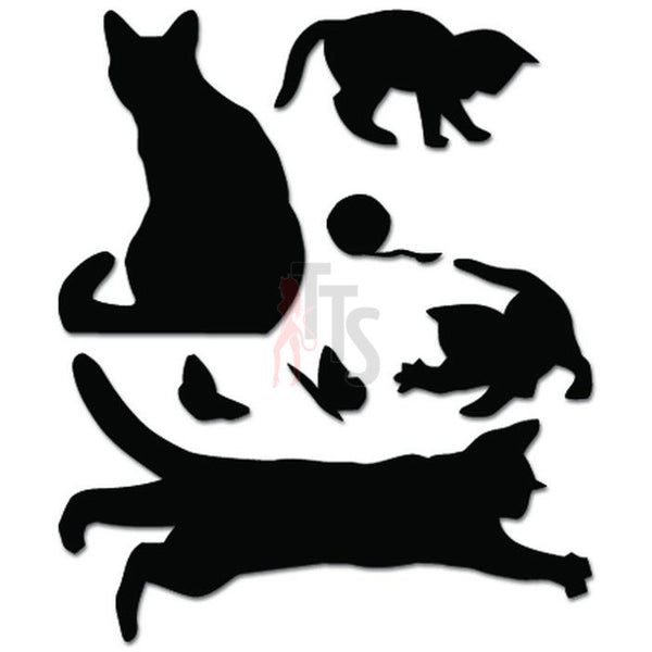 Cats Playing Flower Ball Decal Sticker