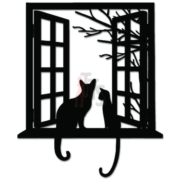 Cats Sitting On Window Decal Sticker