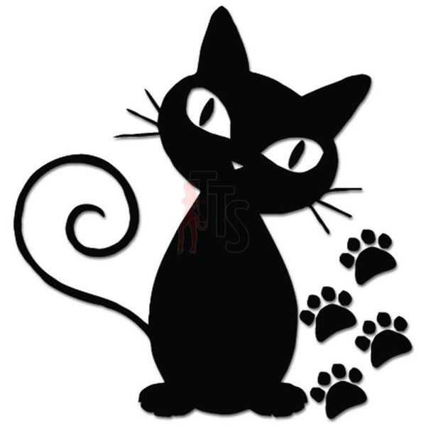 Cat Sitting Paws Print Decal Sticker