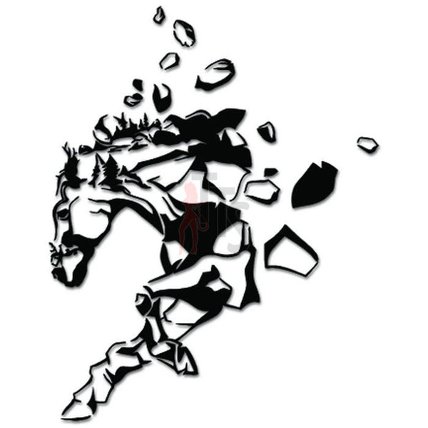 Horse Running Rocks Art Decal Sticker