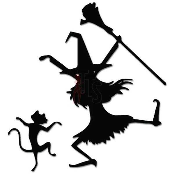 Funny Cat Witch Dancing Decal Sticker