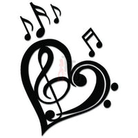 Love Heart Music Notes Decal Sticker Style 1