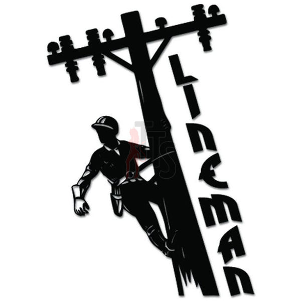 Lineman Electrician Pole Decal Sticker Style 2