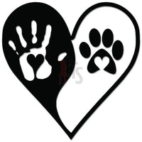Love Heart Hand Paw Dog Ying Yang Decal Sticker