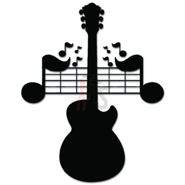 Guitar Music Notes Decal Sticker Style 2