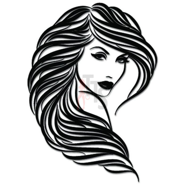 Sexy Girl Model Long Hair Decal Sticker Style 3