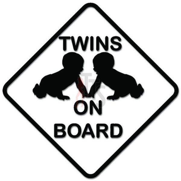 Twins On Board Baby Decal Sticker Style 2
