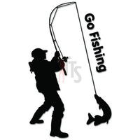 Go Fishing Fish Rod Decal Sticker Style 1